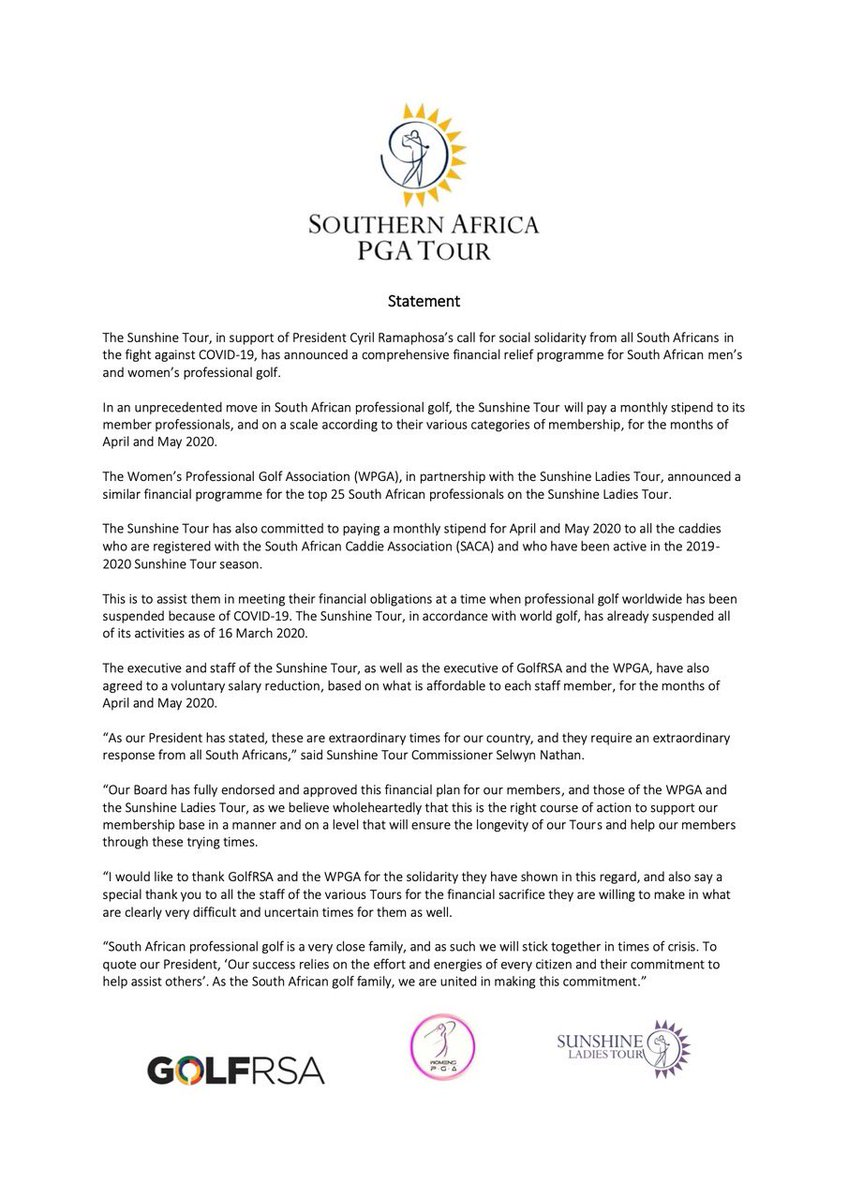 MEDIA STATEMENT from the Southern Africa PGA Tour @PGASA  @Sunshine_Tour  @SLadiesTour  @PGATOUR  @EuropeanTour  @asiantourgolf  @JGTO_official  @PGAofAustralia  @Challenge_Tour  @TeamSA2020  @GolfRSA  @GolfChannel  @CompleatGolfer  @EWNsport  @Natethegate