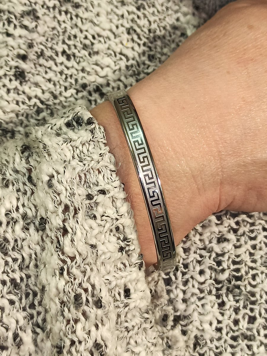 Excited to share the latest addition to my #etsy shop: Silver Bangle Bracelet for women/Greek Key Bracelet/Meander Bracelet/Greek Key Bangle/Greek Jewelry/Birthday Gift for Her Friend Teacher mum  #birthday #christmas #lovefriendship #silver #no