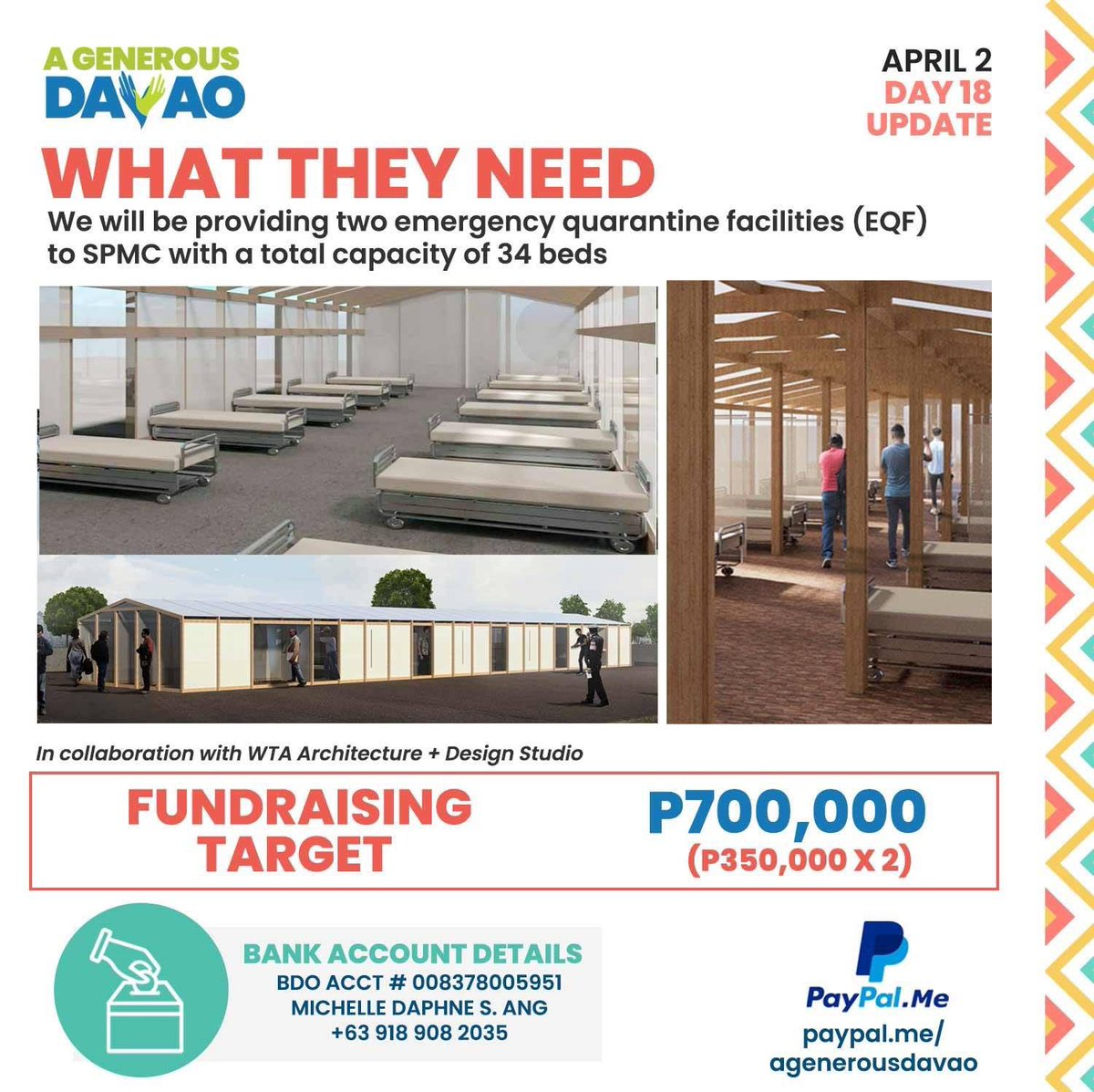 Due to the increasing number of COVID19 cases, our goals have gotten bigger! Help us fund these 2 EQFs  #AGenerousDavao #StrongerTogether <br>http://pic.twitter.com/qQt2v0LPVN
