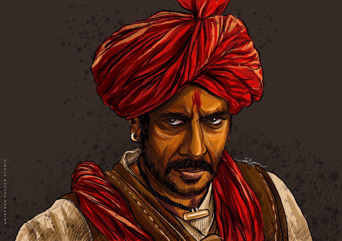 """Jise haarne ka dar nahi ... jeet usse door nahi"" Small token of love to @ajaydevgn sir on his birthday.  @itsKajolD @omraut @TanhajiFilm  #illustration #birthday #tanhaji #ajaydevgan #ipadpro #procreate #amirkhanpathan #characterart #marathawarrior #ipadartpic.twitter.com/0Okal53AXP"