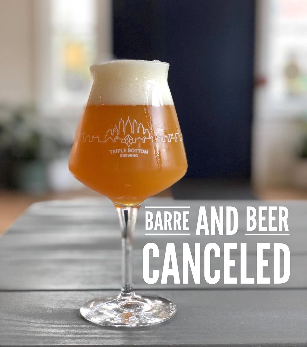#barreandbeer scheduled for this Sunday @triplebottombrewing has been canceled- we hope to reschedule in the future #barre #beer #craftbeer #philly #philadelphia