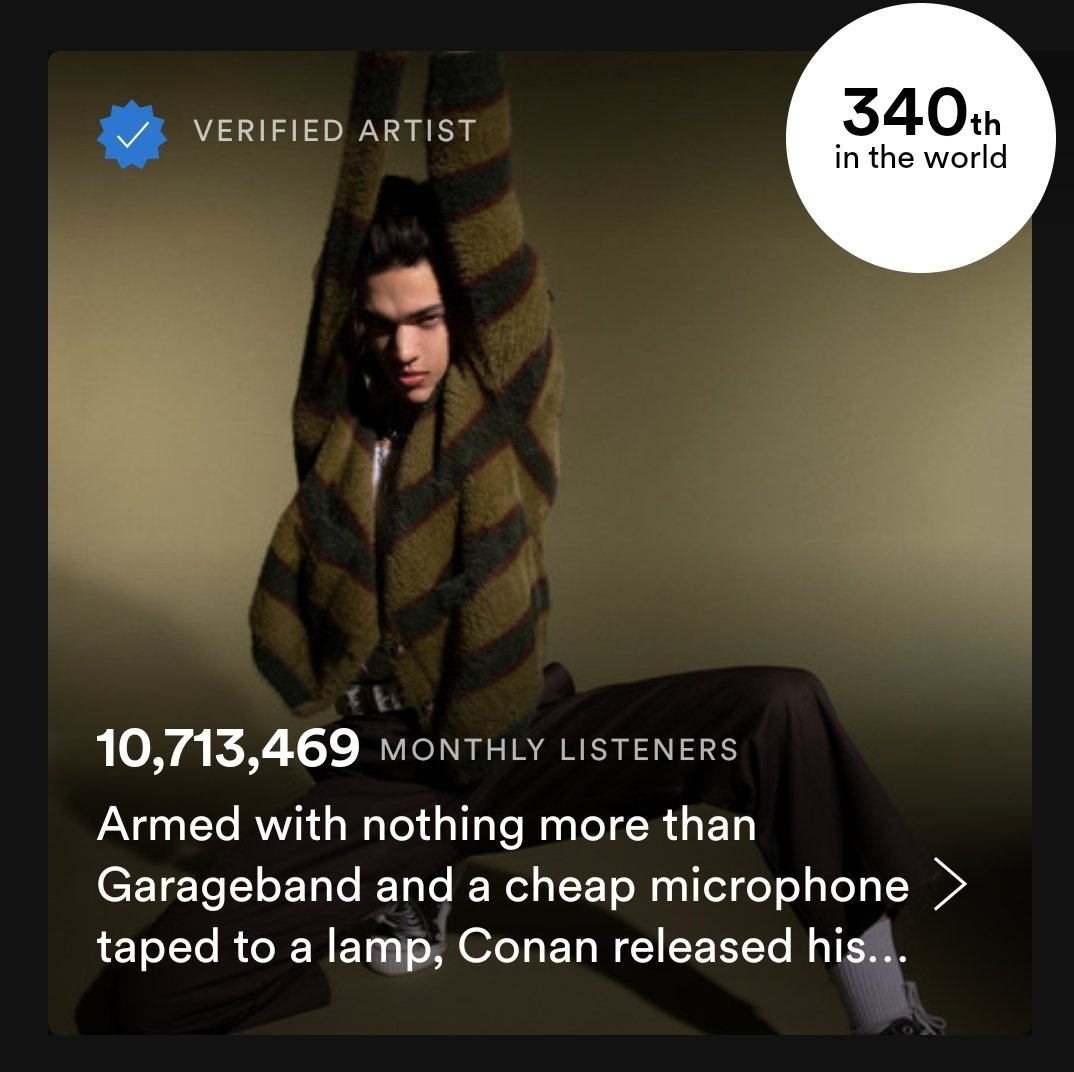 okay so i dont know who's awake but @conangray passed lorde in monthly listeners today pic.twitter.com/8aW6dFD2sh