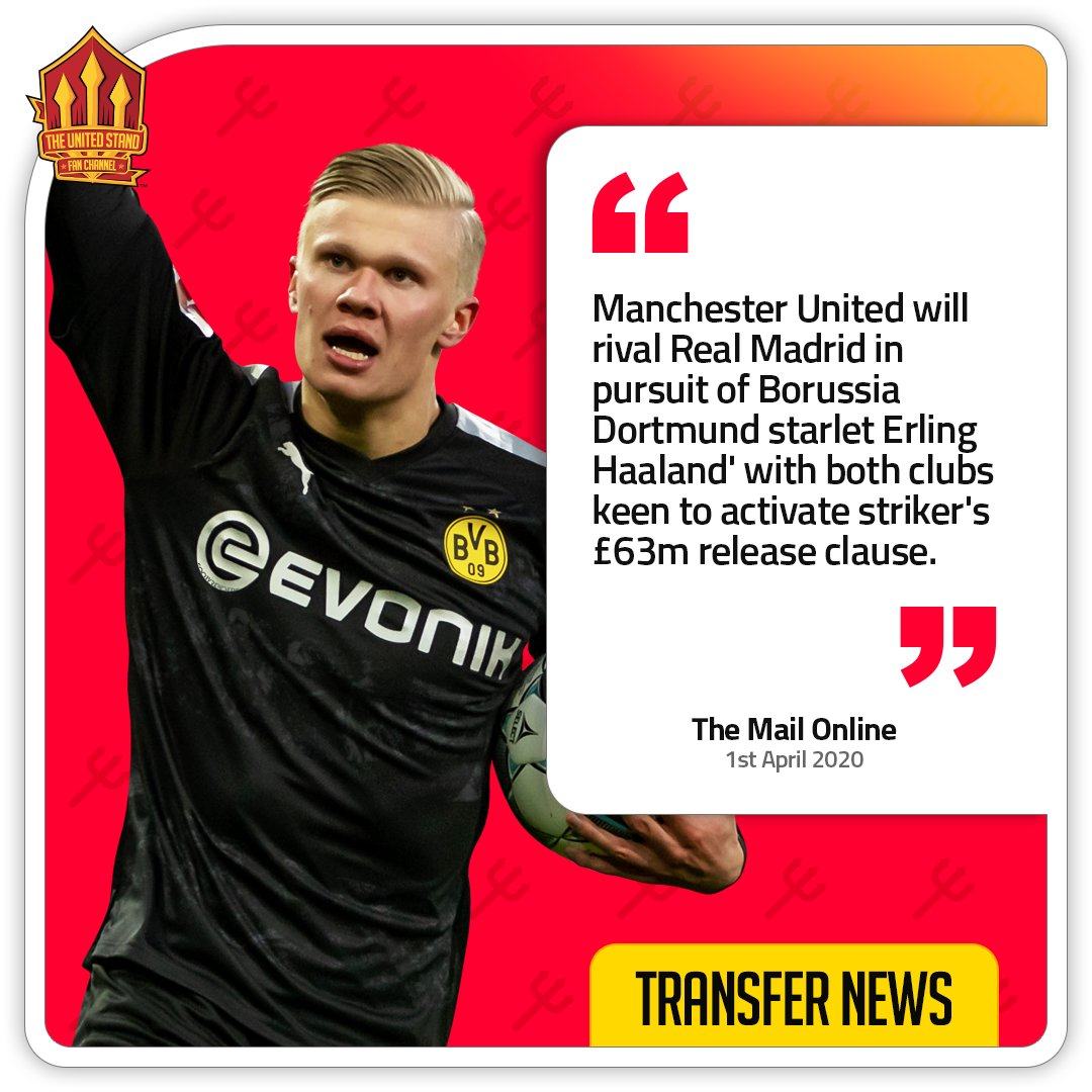 Manchester United are prepared to activate Erling Haaland's release clause of £63M in the summer, despite the player only moving to Dortmund in January.  [Mail Online]