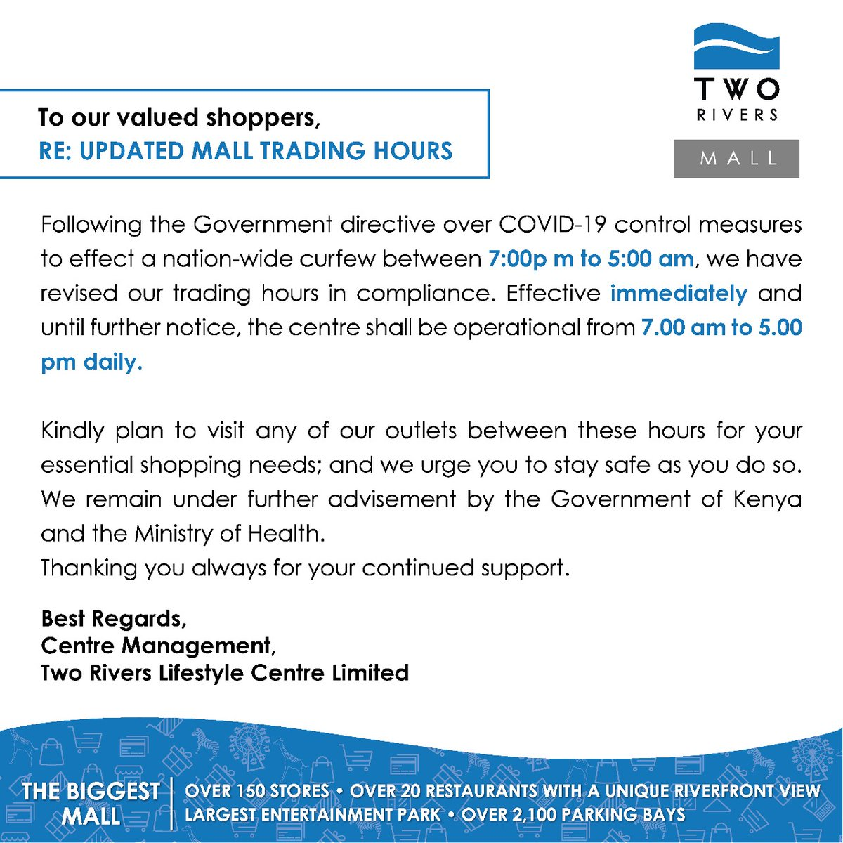 Following the Government directive over COVID-19 control measures to effect a nation-wide curfew between 7.00 pm to 5.00 am, we have revised our trading hours effective immediately and until further notice to 7.00 am to 5.00 pm daily. #WeCareForYou