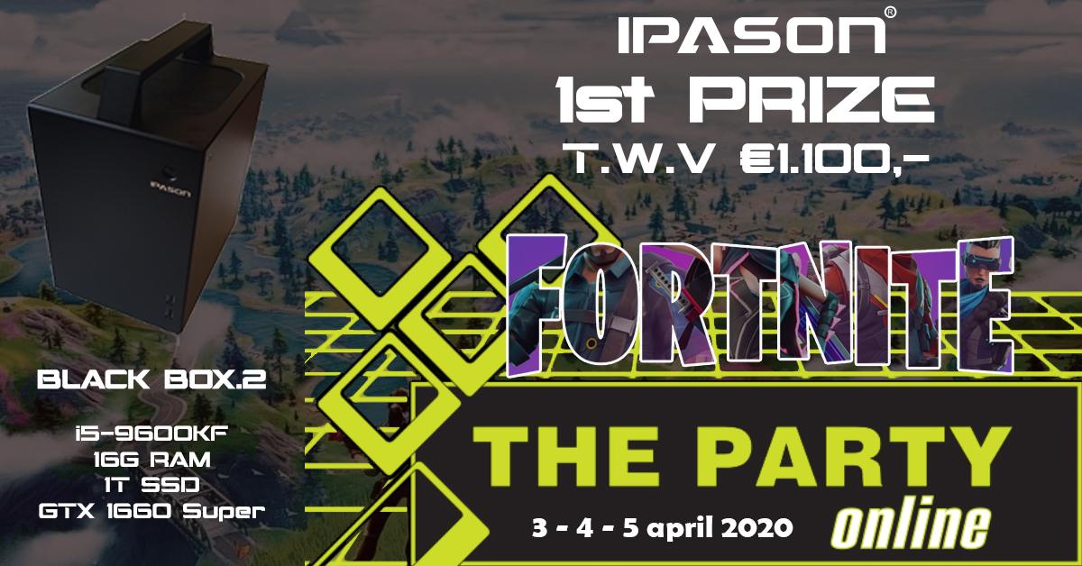 Win een #IPASON #BLACKBOX.2 t.w.v. €1.100,- tijdens #thepartyonline op 3,4,5 april. #Fortnite #gaming #ikblijfthuis #PCGAMING #fortnitetournament https://tp2020.lanergy.eu/c498/Fortnitepic.twitter.com/GIAMwjZOF2