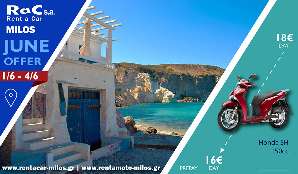 Rac s.a. rent a car 🏝️🛵😀  #scooter #Offers #Milos #islandlife #love #Greek #summer #Honda #photography #photo #photooftheday #photograph #beach #beachlife #beachstyle #happy #Enjoy