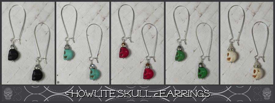 Howlite Skull Earrings in Black, Turquoise, Red, Green & White http://ebay.to/33TcOgY @eBay #handmade #gifts #shopsmall #buyhandmade #handmadebymepic.twitter.com/JARap094DF