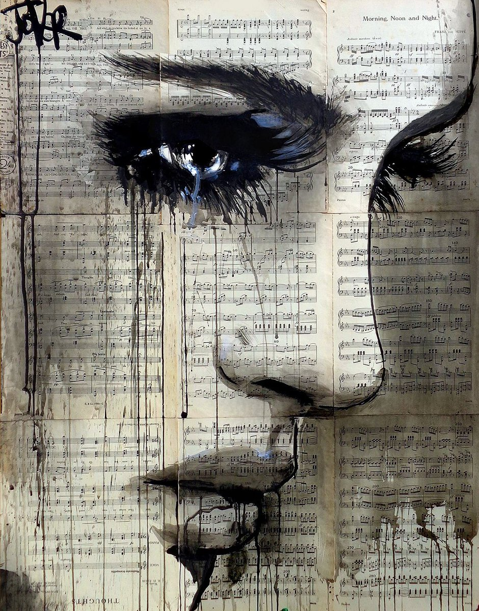 """#art #ink #drawing """"Morning Noon Night"""" on vintage sheet music By Loui JOVERpic.twitter.com/f5Tx8pqe6P"""