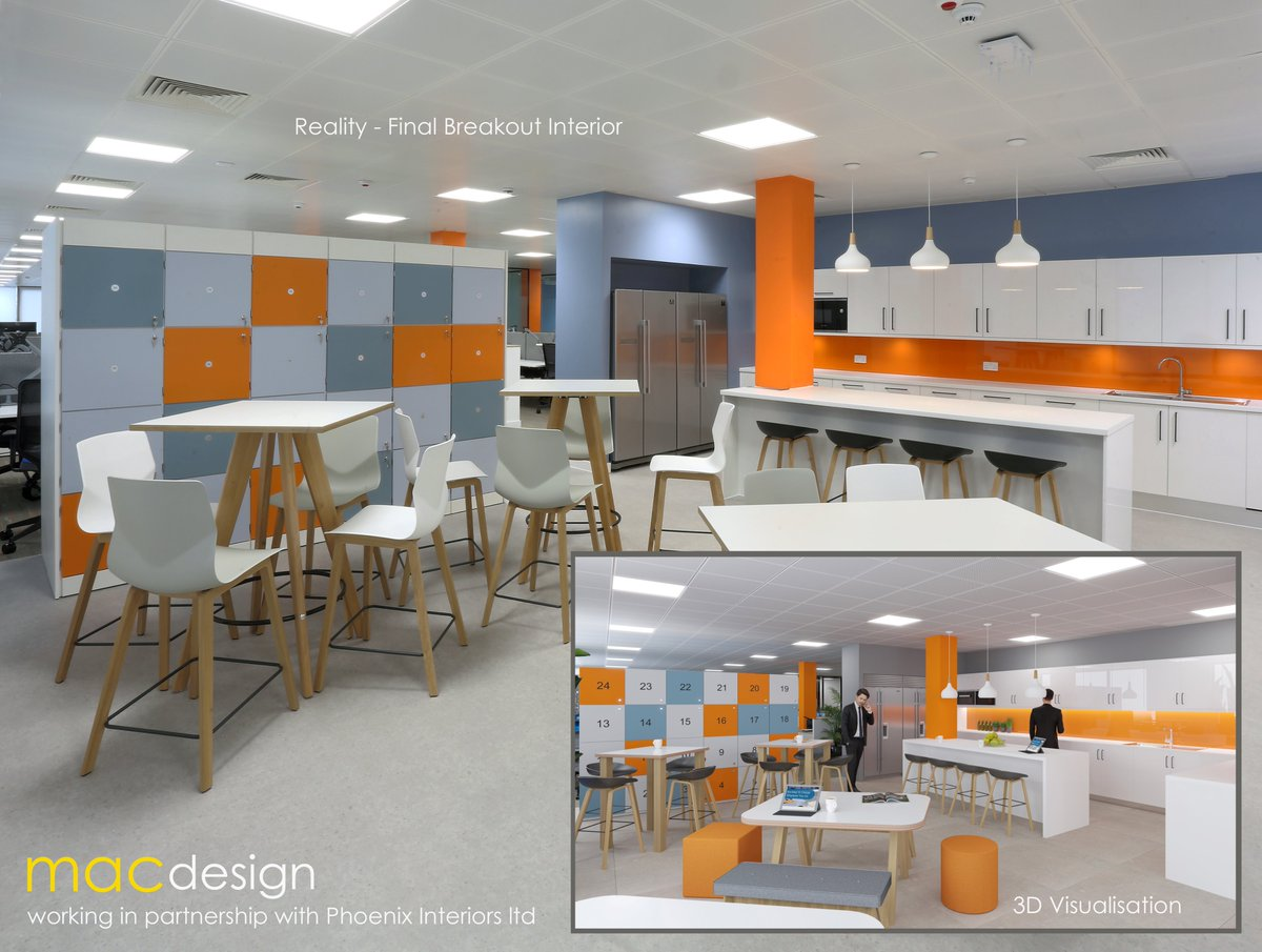 It's always great to compare the finished Interior to the original 3D Visualisation. Making Virtual Reality, REALITY! Pleasure as always to work with Phoenix Interiors & @Cre8Joinery on this project. #officeinteriors #interiors #corporatedesign