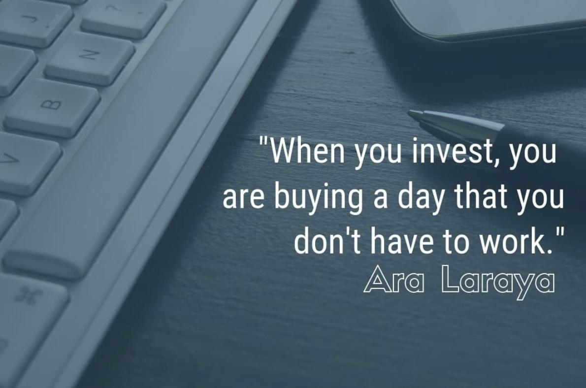 """""""When you invest, you are buying a day that you don't have to work"""" - Ara Laraya. #MoneyQuotes #Investmentquotespic.twitter.com/QWgmIEFnv5"""
