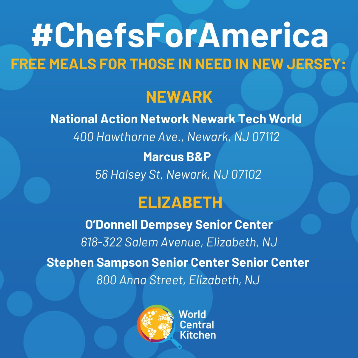In partnership with @RESCUEorg, WCK is opening 2 new meal locations in Elizabeth, New Jersey! 📣 Residents can come by the locations listed here in The Bronx, Brooklyn, Queens, Harlem, Newark, and Elizabeth for free grab-and-go meals. #ChefsForAmerica