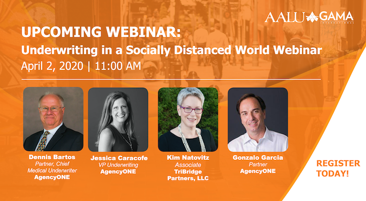 "Webinar is starting NOW! Join us as we discuss ""Underwriting In A Socially Distanced World."""