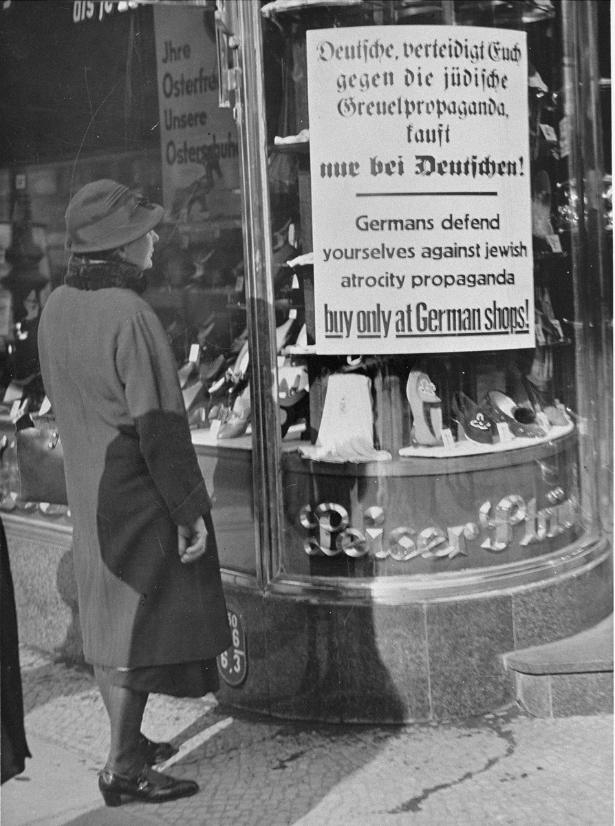 The April 1933 boycott of Jewish businesses, implemented by the Nazis, lasted only one day. It was widely ignored by many individual Germans who continued to shop in Jewish-owned stores, but it marked the beginning of a nationwide campaign against Jews. encyclopedia.ushmm.org/content/en/gal…