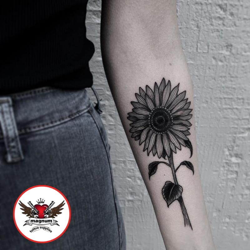 Josh Hurrell did this cute sunflower coverup created using #magnumtattoosupplies  . . #botanical #blackandgrey #tattoo #girlswithtattoos #inkedgirls #tattoosleeve #dotworktattoo . . http://www.instagram.com/joshhurrelltattoo/…pic.twitter.com/73lTumez8h