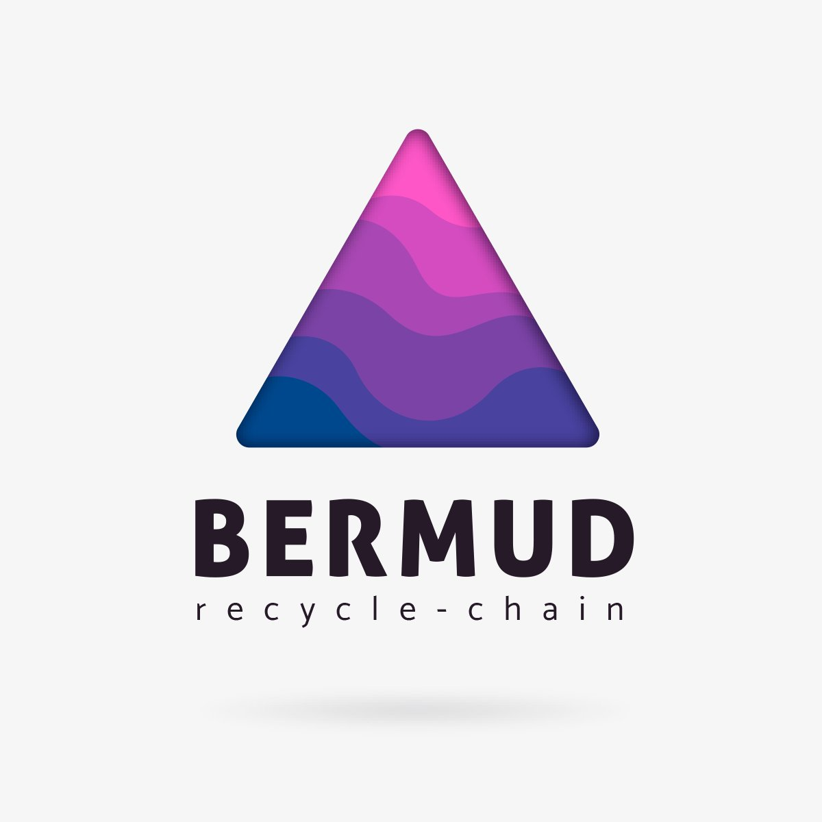 Hi people! The Bermud project should start very shortly...  This is the first official LOGO for the brand.  What you guys think? Blue is for water, and purpure for the stratosphere.  Mysterious fog wave inside of a triangular shape. #invest #Crypto  #recycledpic.twitter.com/wOBvKbvOHs