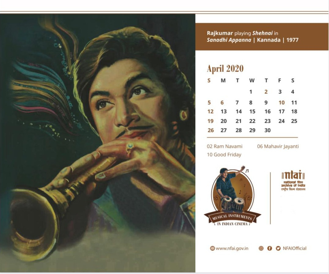 Do you have any musical instruments at home, what are you playing?  A frame of #Kannada cinema stalwart #Rajkumar playing #Shehnai from #SanadhiAppanna featured on the April month of #NFAICalendar2020.  #MusicalCelebrations #IndiaFightsCorona  #StayHomeStaySafe  #ActNowSaveIndia