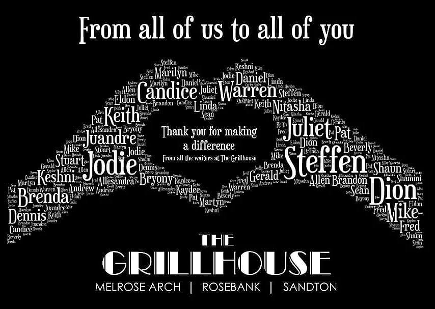 """""""Thank you to everyone for the amazing generosity""""        ~~ From all the waiters at The Grillhouse.   If you would like to help our waiters?  Please visit https://t.co/VwsRqNjGxh to purchase your voucher  #lockdownSA #Covid_19 #staysafe #staypositive #COVID19 #restaurants #staff https://t.co/entIfV7EcB"""