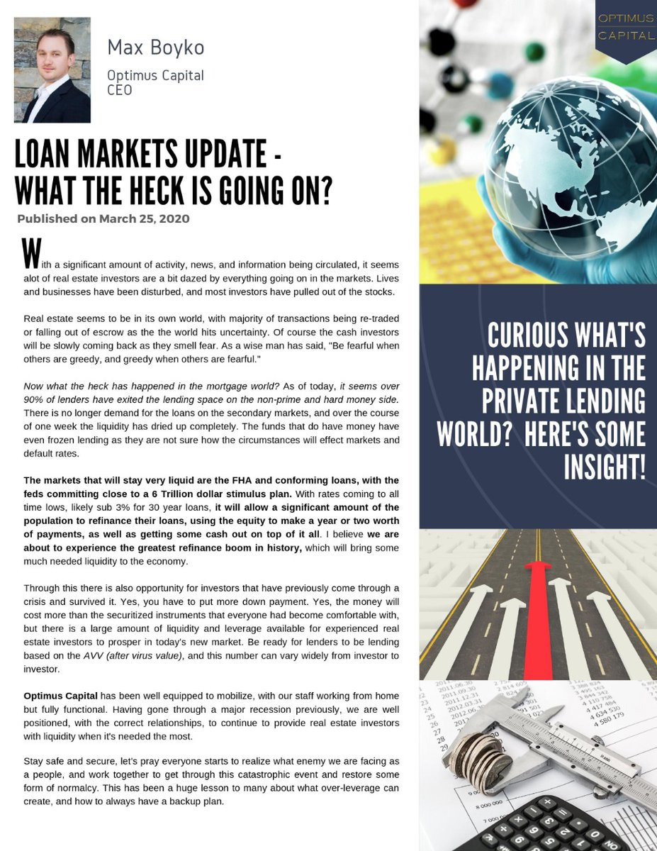 Curious what's happening in the private lending world? Here's some insight! https://lnkd.in/gzAcVuD  #RealEstate #LoanMarkets #Liquidity #RealEstateInvestors #AfterVirusValue #CoronavirusImpact #OptimusCapitalCorppic.twitter.com/bIBMEVlYYQ