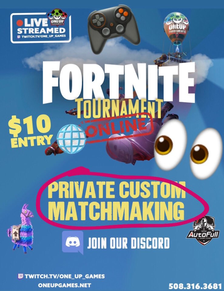 Private Custom Matchmaking Battle Royale, tomorrow night! Play from home for the chance to win up to $200! Queue opens at 6:50pm. 1st game starts at 7:10pm. Sign up now at http://smash.gg/oneupfortnite4320… #FortniteTournament #CustomMatchmaking #FortniteSolos #PS4 #XboxOne #Nintendopic.twitter.com/ac7TRFiirr