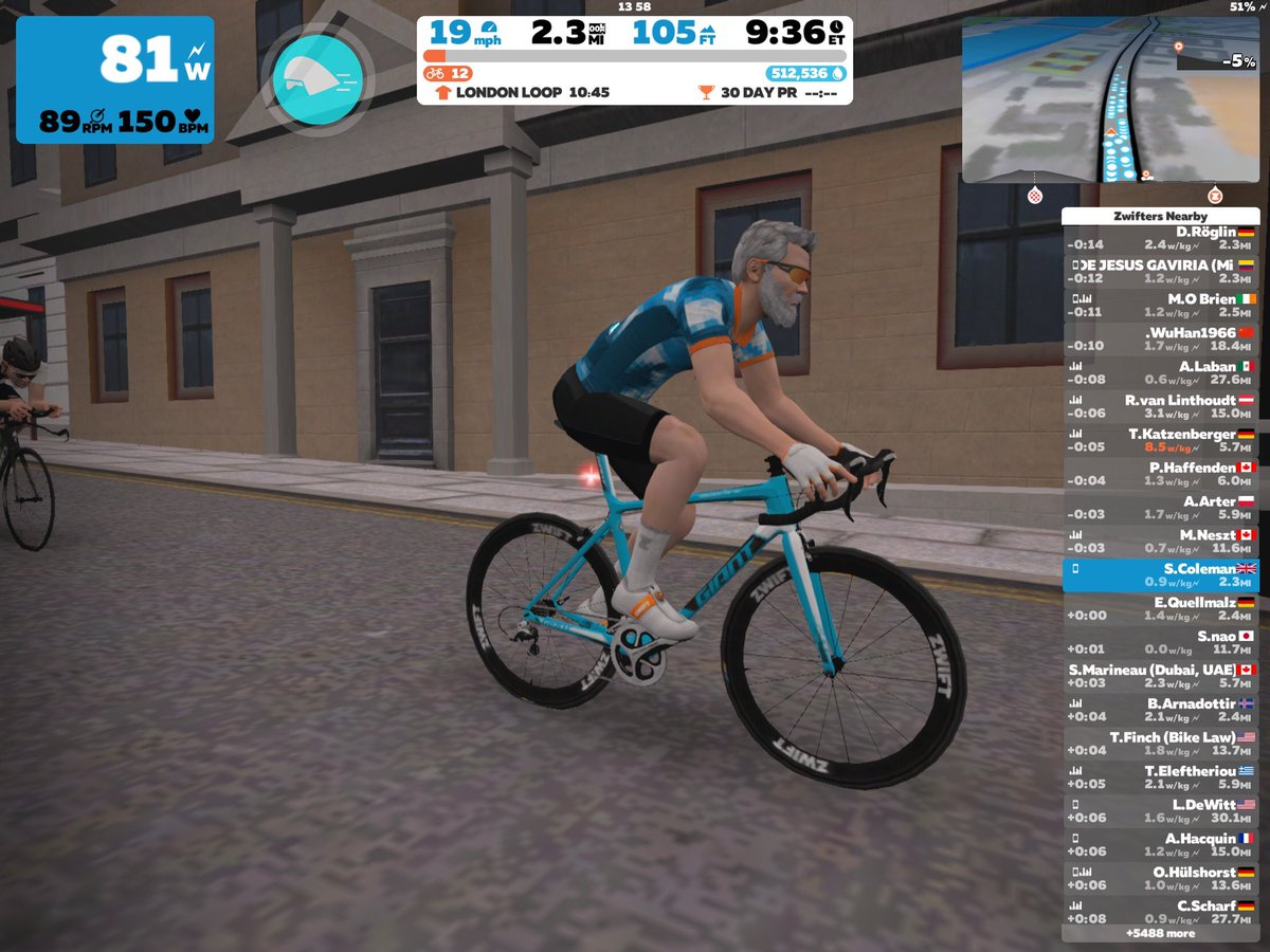 I really fancied a bike ride today... but it rained and got windy....so I cycled in the virtual world!! It kinda defo looks like me #zwift #cyclinglife pic.twitter.com/Dhc2cN1JBO