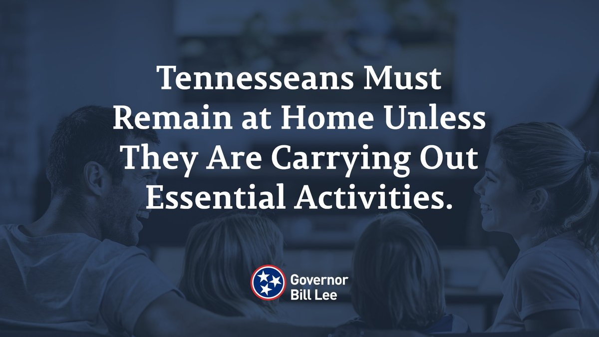 For that reason, I went a step further with my safer at home order & have said that Tennesseans must remain at home unless they are engaging in essential activity.  Staying home isn't an option - it's a requirement for the swift defeat of COVID-19.  https://t.co/SC7M7O1DBu https://t.co/GDY2IzcQaL