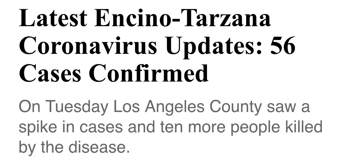 #Encino & #Tarzana 56 #COVID19 cases ,30 of the 56 is in Encino CA. Please #StayAtHome , as we know Encino is a small community,it can get out of hand really fast.Prayers to our beautiful cityvia #encinopatchpic.twitter.com/fISrR6V6zE