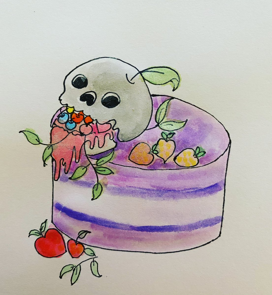I want this cake for my bday #drawing #drawingoftheday #artistsupportartists #artistsupport #cake #cakedecorating #skullartwork #creepycuteart #watercolorpainting #watercolor #sketchbook #sketchingpic.twitter.com/FRmTmpjQCU