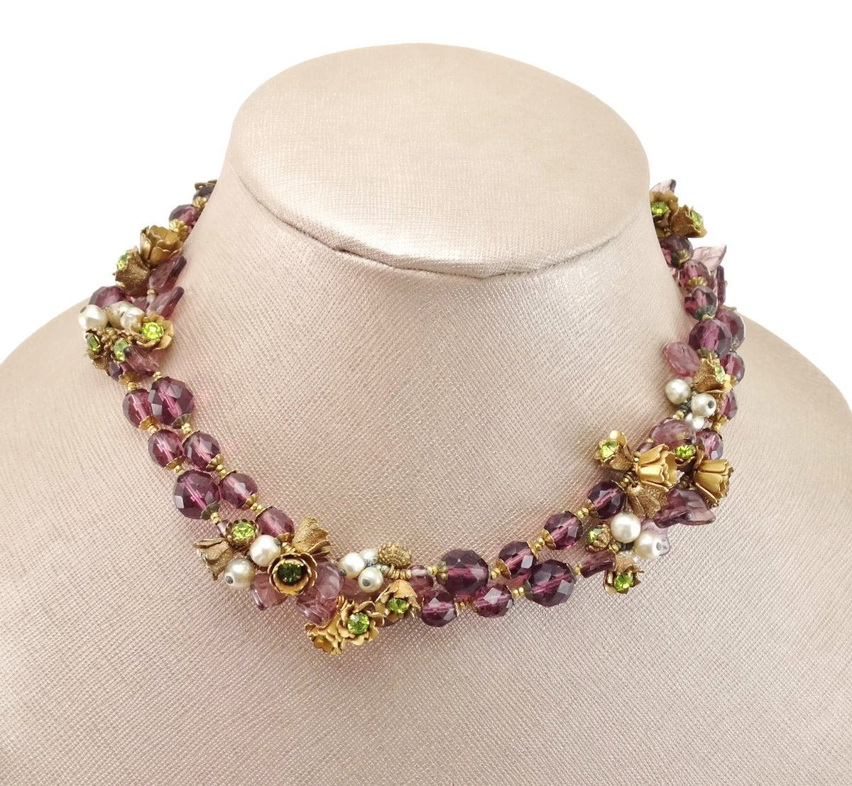 Vintage Early MIRIAM HASKELL Amethyst Gripoix Glass, Gilt Metal Roses, Glass Leaves, Rhinestone Necklace #designer #amethystnecklace #vintageroses #miriamhaskell