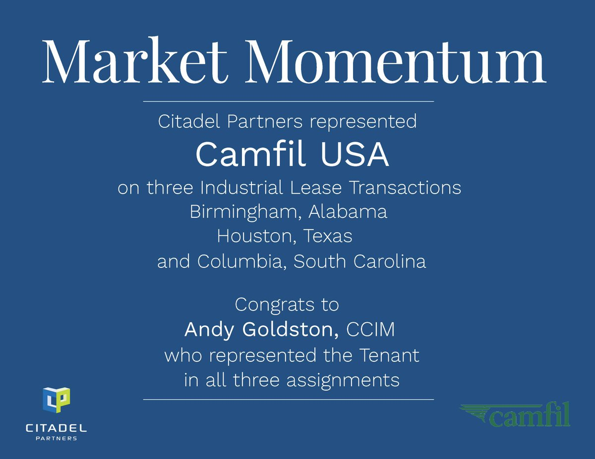 test Twitter Media - Congratulations to Andy Goldston, CCIM who represented Camfil USA on three Industrial Lease Transactions.  #CitadelPartners https://t.co/BMKvfhCjnY