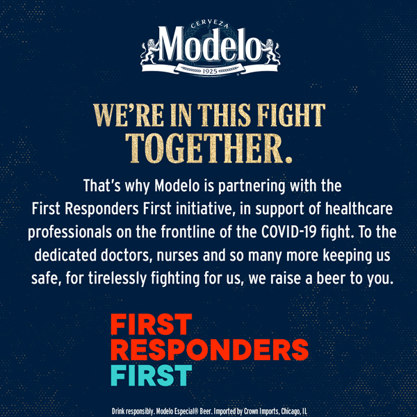 Modelo is proud to partner with #FirstRespondersFirst to support those on the COVID-19 frontline, who tirelessly fight for us. Learn more at: https://t.co/NASEeSvYNn https://t.co/LeER88uktg