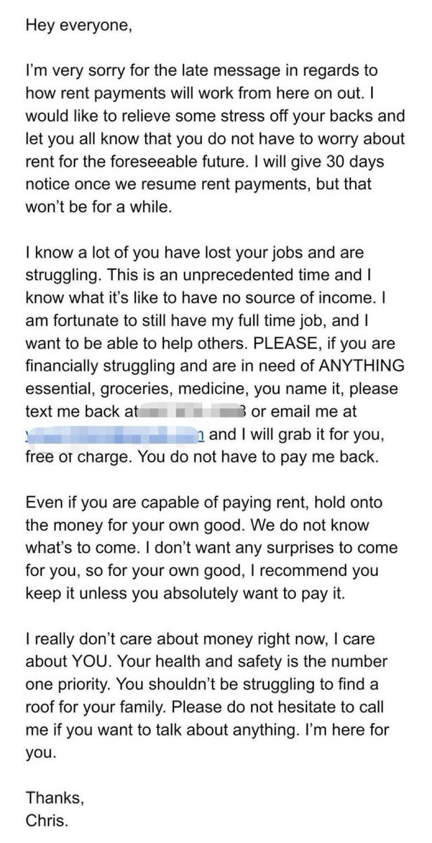 In Toronto, several tenants of a building were worried they couldn't pay their rent during the Coronavirus pandemic.  Their landlord sent them this letter.  His name is Chris.  Be like Chris.  Humanity.🌎❤️ https://t.co/bhHymkYkiv