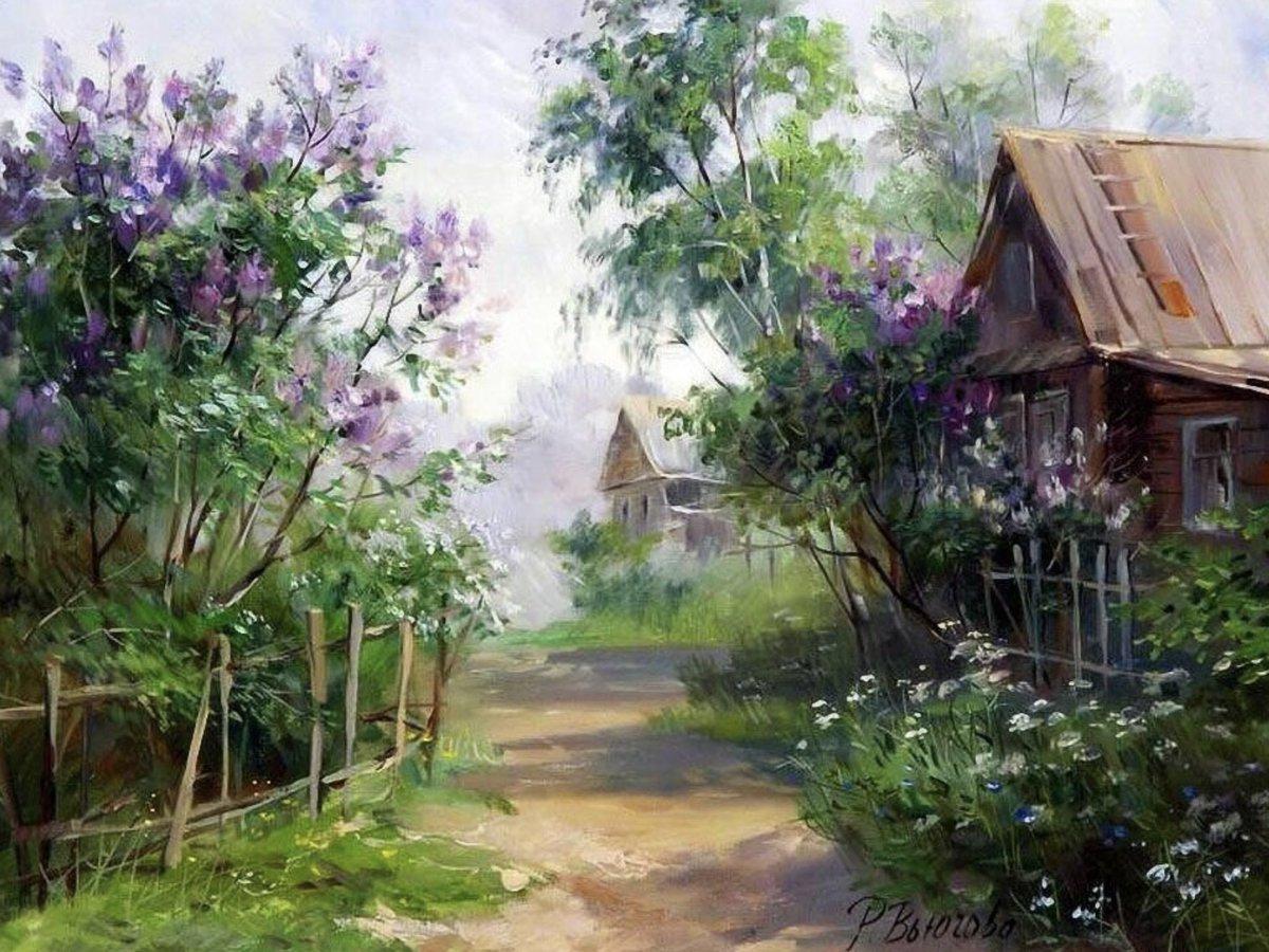 деревенский пейзаж с цветущими садами фото кроссфитом