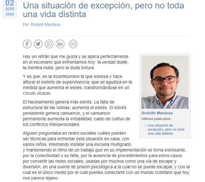 """#UBBenPrensa """"Una situación de excepción, pero no toda una vida distinta"""", columna de opinión del académico del Departamento de Ciencias Sociales UBB, Rodolfo Mendoza Llanos. https://t.co/G8PvTZz3PE https://t.co/S9MWVRQpxy"""