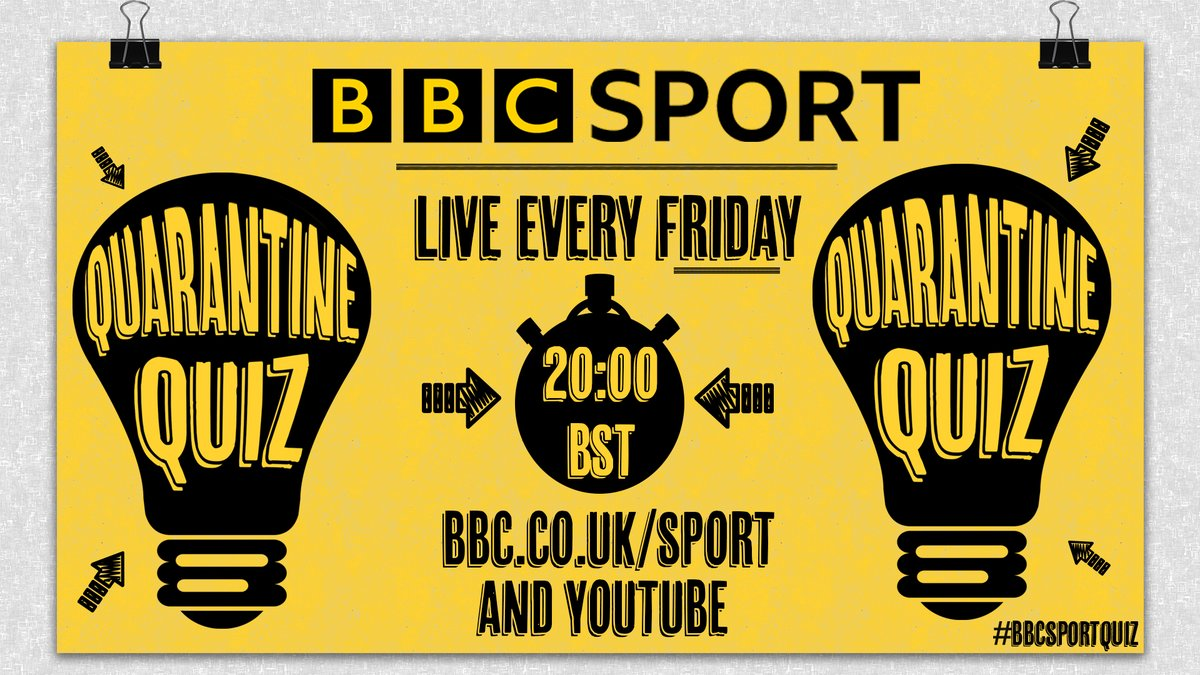 ❓❓❓ BBC SPORT QUIZ! ❓❓❓ Join us on Friday night at 8pm! Three rounds of sporting questions hosted live on our website and YouTube channel. Get involved via #bbcsportquiz More info: bbc.in/2xIh4oV