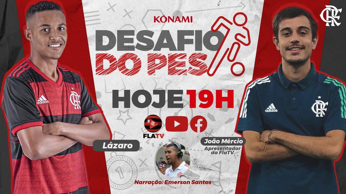 Alô, Nação! Hoje, às 19h, teremos o #DesafioDoPes ao vivo na #FLATV! O nosso apresentador João Mércio enfrenta o nosso atacante Lázaro! Imperdível!  #CRF 🔴⚫️
