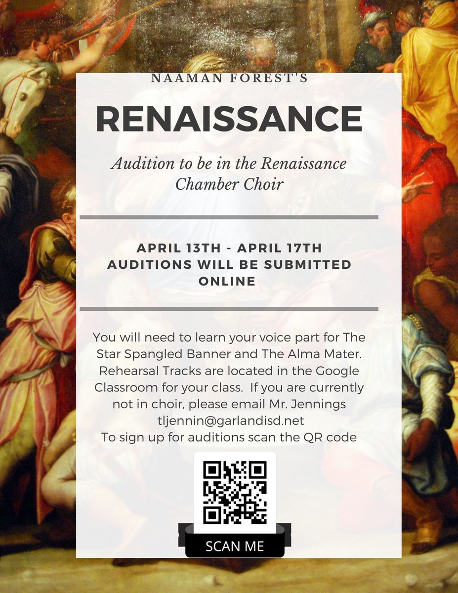Do you like to sing acapella? Do you like to sing traditional choir music? Do you like to wear cool costumes?  If so, then Naaman Forest's Renaissance Choir is the place for you!  Tryout information below  #WeAremUSic <br>http://pic.twitter.com/LR0xWZsmmh