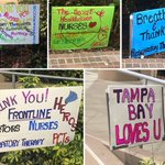 Here's how our teams were greeted as they arrived to the hospital this morning. To whoever made these, thank you! Your words of support make doing what we do even more rewarding. 💙 #WeAreTGH #TGHHeroes #TampaProud #COVID19 #Coronavirus