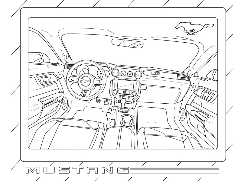 Ford Mustang Cobra Car Coloring pages Free Printable Coloring ... | 599x807
