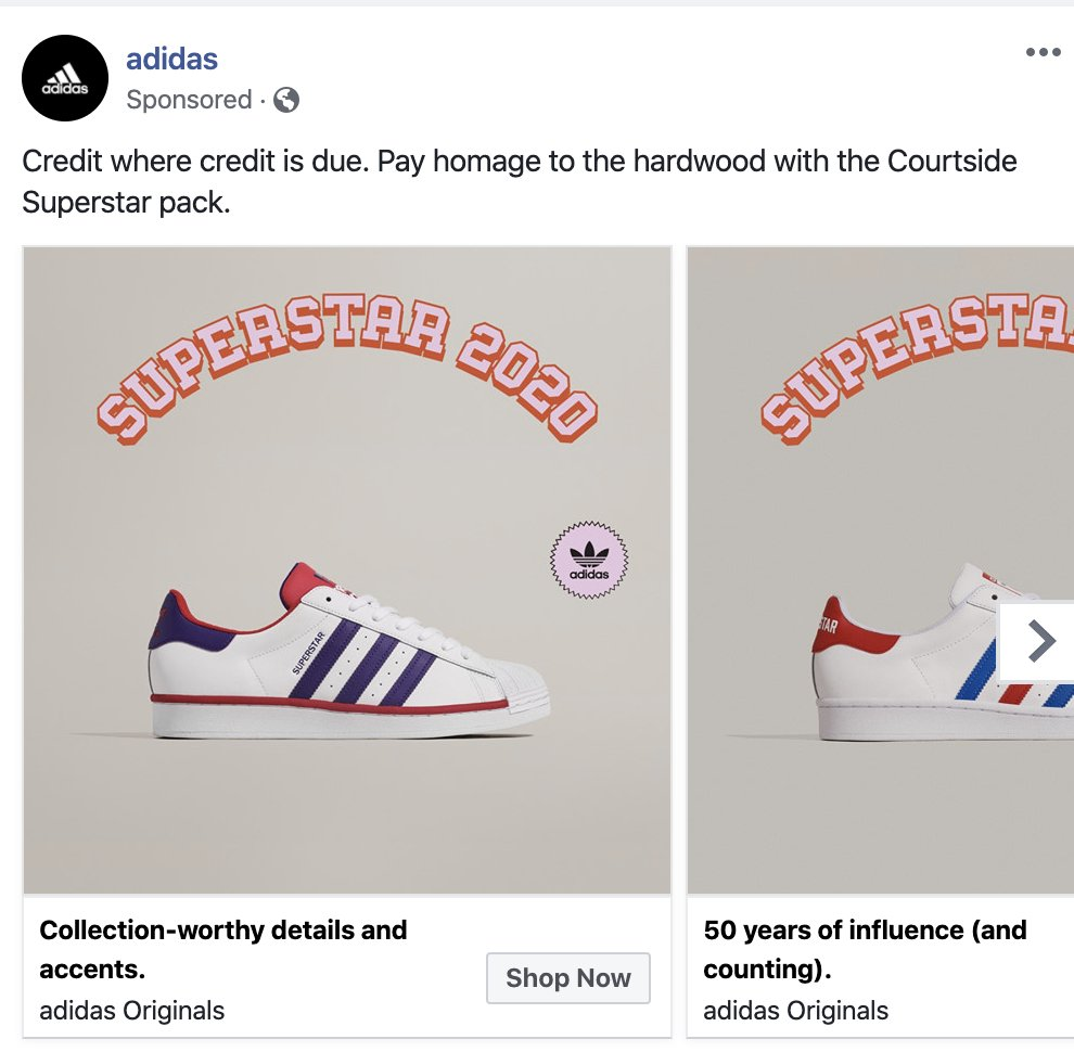 Brentoberfest On Twitter Pretty Sure Adidas Can Tell How Bad I Ve Been Want To Go Shoe Shopping Cause These Superstar 2020 Ads Are Following Me Everywhere On Social Media And It S Killing