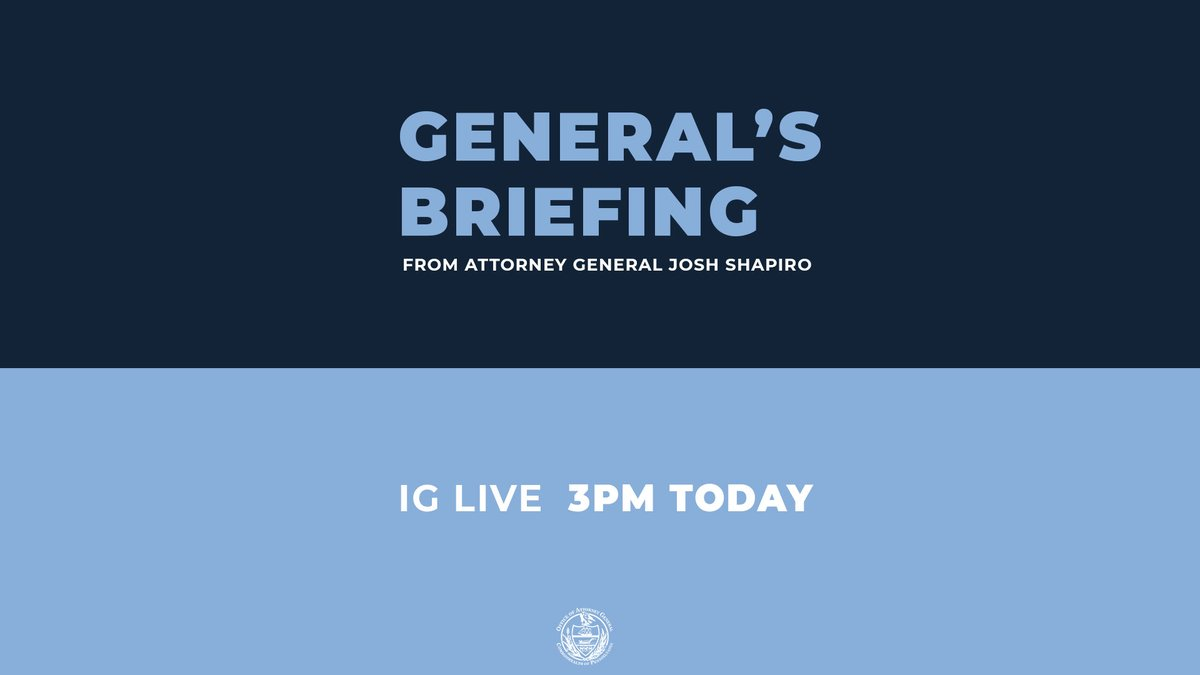 Don't miss! I'll be going over some important updates at 3p on IG Live: instagram.com/paattorneygen/