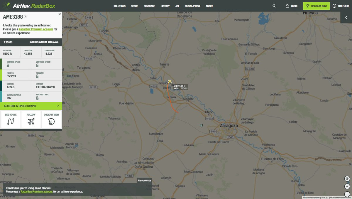 Spanish Air Force A400 T.23-05 departed Zaragoza en route to #Germany to bring respirators. pic.twitter.com/InqIZ0EehM