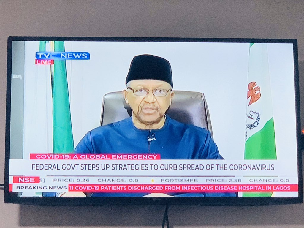 """""""We have started to see early signs of community transmission of #COVID19Nigeria. The lockdown in the Lagos, Ogun & the FCT will be helpful as we continue to intensify efforts to detect & confirm cases of #COVID19. ~ HMH, @DrEOEhanire"""
