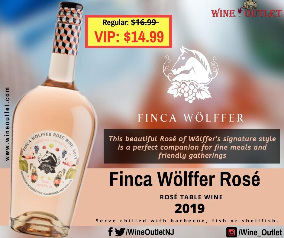 Finca Wölffer Rosé - 2019 Rosé Table Wine Regular: $̶1̶6̶.̶9̶9̶ VIP: $14.99. #FincaWolffer #finca #fincawolfferrose #wolffer #wolfferwine #summer #summerrosé #flowerbottle #rosé #rose #roseallday #roséallday #wineoutlet #newjersey #pointpleasantbeach #America #manasquan #secaucus