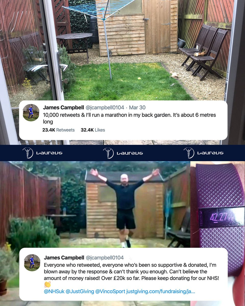 Monday: @jcampbell0104 put out a Tweet saying he would run a marathon in his six meter long back garden if he got 10,000 retweets...  Wednesday: 23.4K retweets later James completed the challenge on his birthday raising an incredible £26,600+ for the UK's NHS 👏👏👏  #NHSheroes