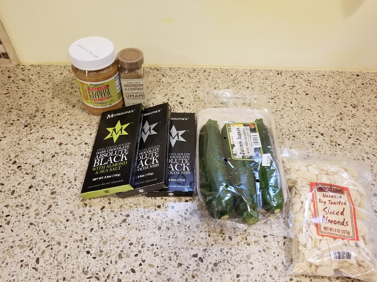 Stopped at Trader Joes on way home, got some things for baking later this week, except for zucchini.