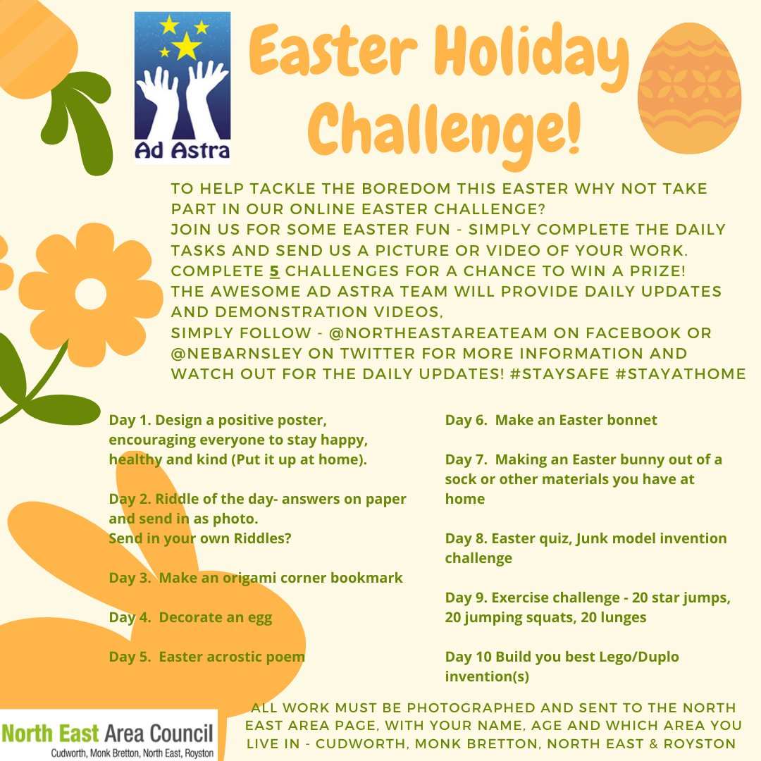 NORTH EAST AREA - EASTER CHALLENGE  Join us for a 10 day activity challenge All you have to do is send us pictures of your creations and complete challenges to be entered into a prize draw #Easter #SchoolHolidays #Activities #Fun #Challenges #BarnsleyisBrill #LoveWhereYouLive pic.twitter.com/LsK4Nwidph