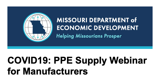Are you manufacturing masks and other PPE?   The State of MO Dept. of Econ. Dev. @MoEcoDevo is hosting a COVID19: PPE Supply Webinar:  Fri 4/3 @ 3:30pm CST  Tune in to learn about connecting manufacturers & suppliers w/ Missouri health care facilities.  https://stateofmo.webex.com/mw3300/mywebex/default.do?nomenu=true&siteurl=stateofmo&service=6&rnd=0.8414211189641577&main_url=https%3A%2F%2Fstateofmo.webex.com%2Fec3300%2Feventcenter%2Fevent%2FeventAction.do%3FtheAction%3Ddetail%26%26%26EMK%3D4832534b000000049b54f47c5aaf9b289c5abf712adccee4946c29e095edf6157d40a76d04e9521e%26siteurl%3Dstateofmo%26confViewID%3D157359156085433259%26encryptTicket%3DSDJTSwAAAASyoUku1Q3RnODKpdF4nweli5AnoKAdBXgBZQZBuDlygQ2%26 …pic.twitter.com/BvDQ076PZd
