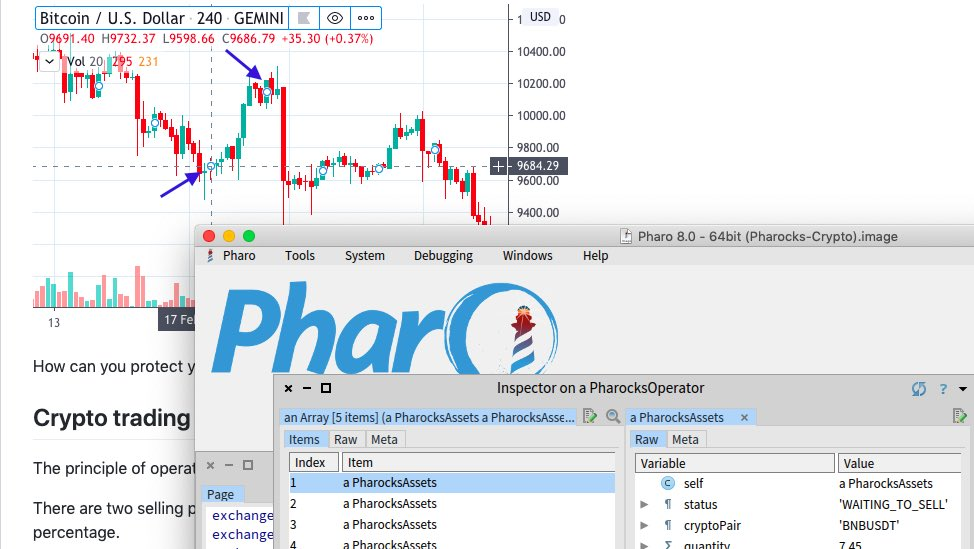 In corona free time, I wrote this application in Pharo to create purchase and sale orders for assets with a trailing stop / stop loss strategy, in Binance Cryptocurrency Exchange. Short video in the description. #CryptoBot #Experimental   http://github.com/oliveiraallex/Pharocks-Cryptobot…pic.twitter.com/c4TUtOA00W