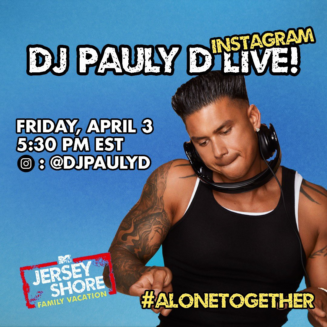 You Ready For Another #PaulyDLive DJ Set From My Home??!! Tomorrow 5:30pm est I'm Hitting You With A Live DJ Set Quarantine Style!!!! INSTAGRAM THIS TIME #alonetogether Join Me And Tag Ur Friends To Joinpic.twitter.com/qqjIf01cb7