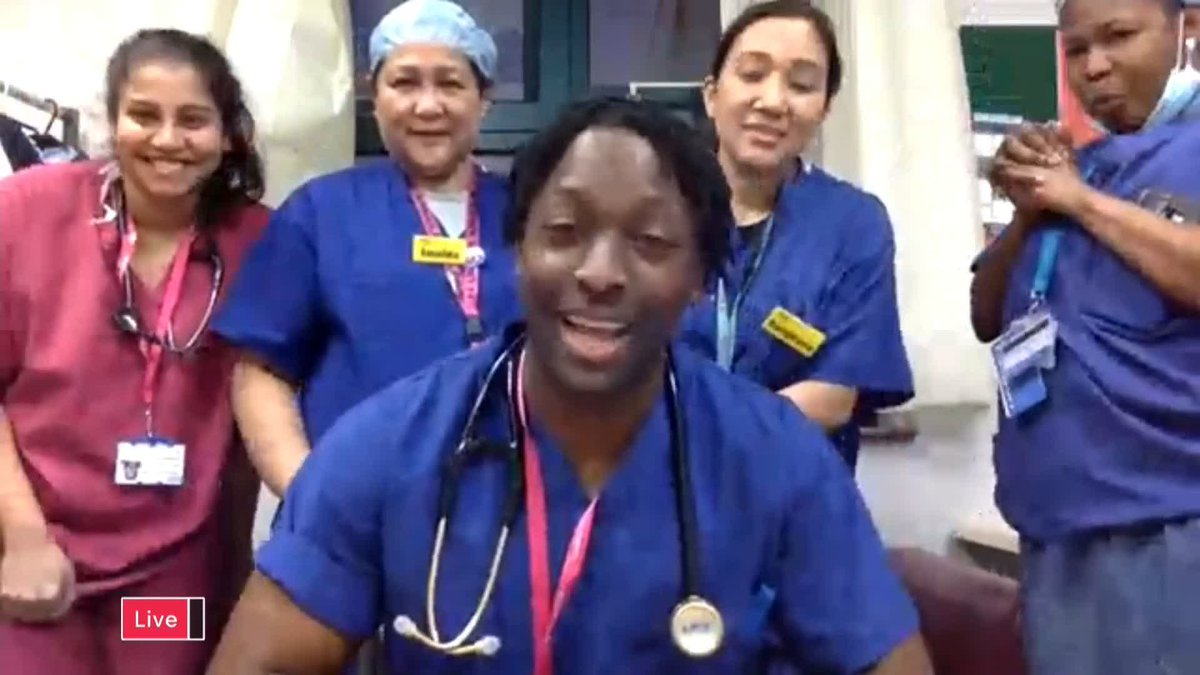 The support that weve been receiving over the past few weeks allows us to keep our energy levels up and to remain motivated to be on the frontline, and every day it makes a difference. Dr Raphael Olaiya reacts to the #ClapForOurCarers with some of his colleagues.